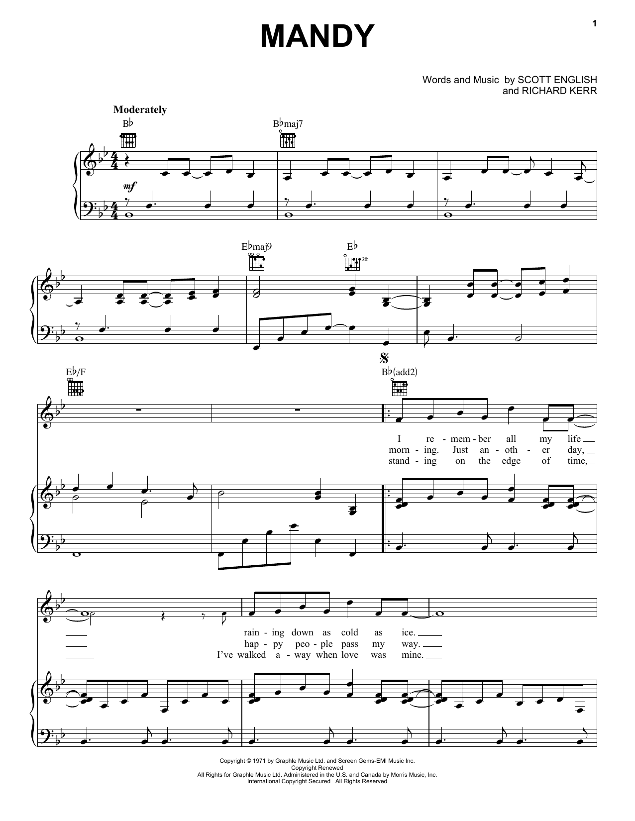 Barry Manilow Mandy sheet music notes and chords