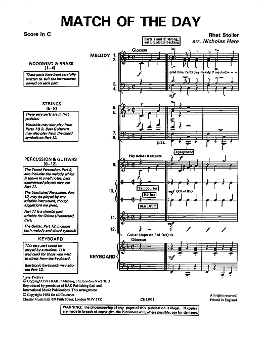 Download Barry Stoller 'Match Of The Day' Digital Sheet Music Notes & Chords and start playing in minutes