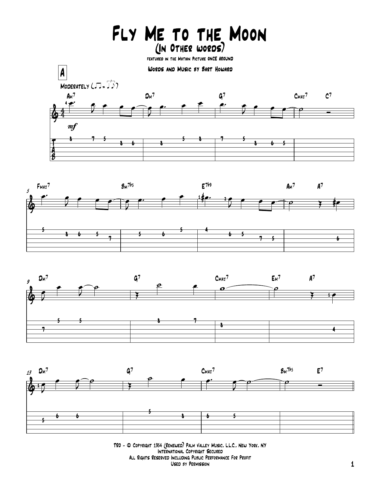Download Bart Howard 'Fly Me To The Moon (In Other Words)' Digital Sheet Music Notes & Chords and start playing in minutes