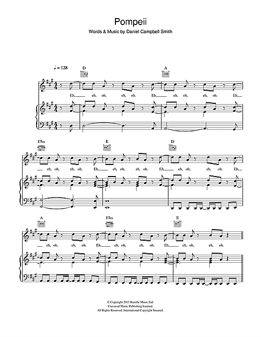 Download Bastille 'Pompeii' Digital Sheet Music Notes & Chords and start playing in minutes