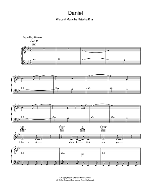 Download Bat For Lashes 'Daniel' Digital Sheet Music Notes & Chords and start playing in minutes