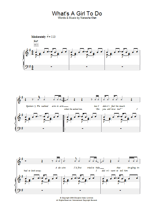 Bat For Lashes What's A Girl To Do sheet music preview music notes and score for Piano, Vocal & Guitar including 5 page(s)