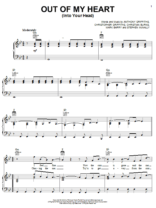 BBMak Out Of My Heart (Into Your Head) sheet music preview music notes and score for Piano, Vocal & Guitar (Right-Hand Melody) including 6 page(s)