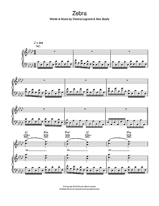 Beach House Zebra Sheet Music Notes Download Pdf Alternative Score Piano Vocal Guitar 106205