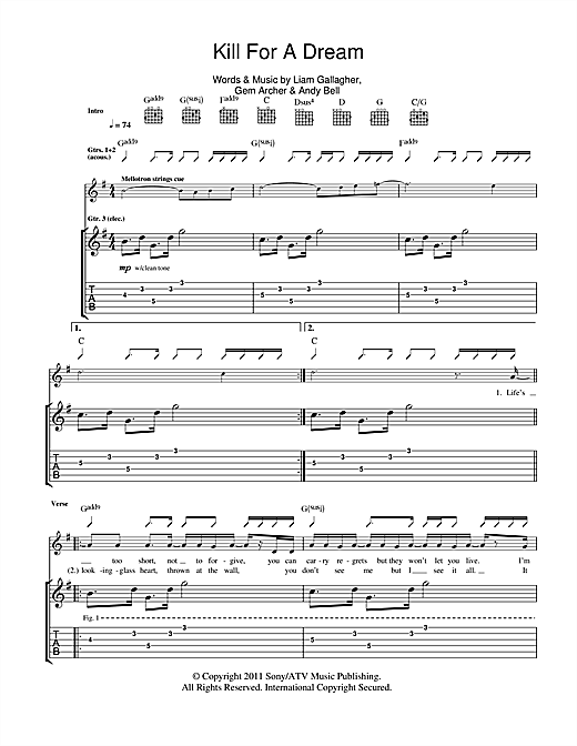 Beady Eye Kill For A Dream sheet music notes and chords