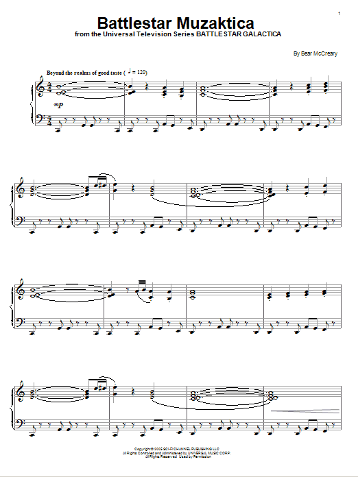 Download Bear McCreary 'Battlestar Muzaktica' Digital Sheet Music Notes & Chords and start playing in minutes