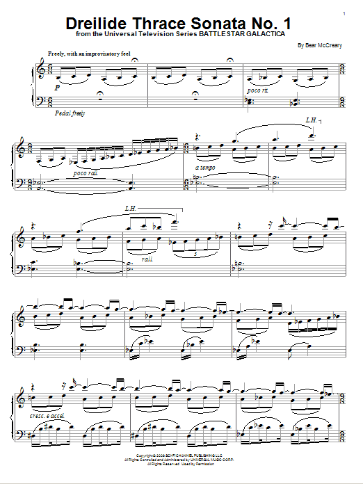 Download Bear McCreary 'Dreilide Thrace Sonata No. 1' Digital Sheet Music Notes & Chords and start playing in minutes