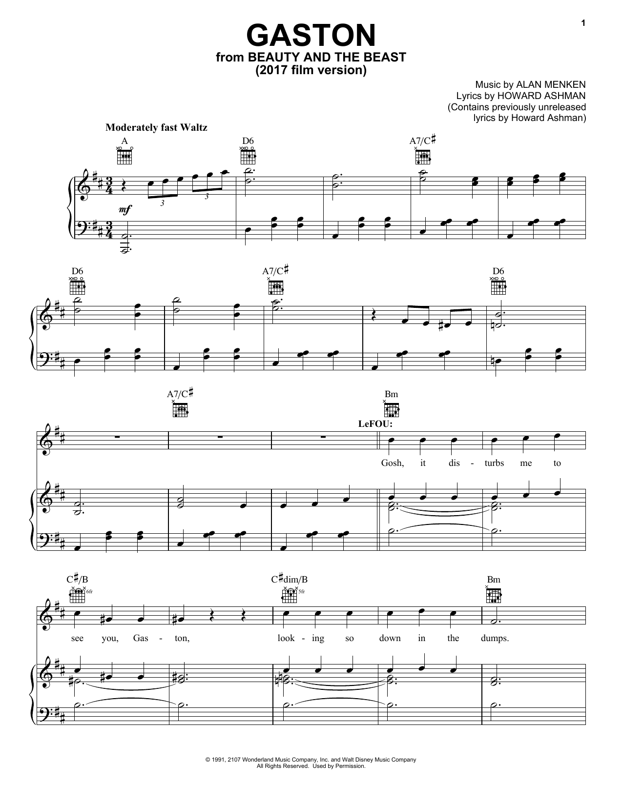 Download Beauty and The Beast Cast 'Gaston' Digital Sheet Music Notes & Chords and start playing in minutes