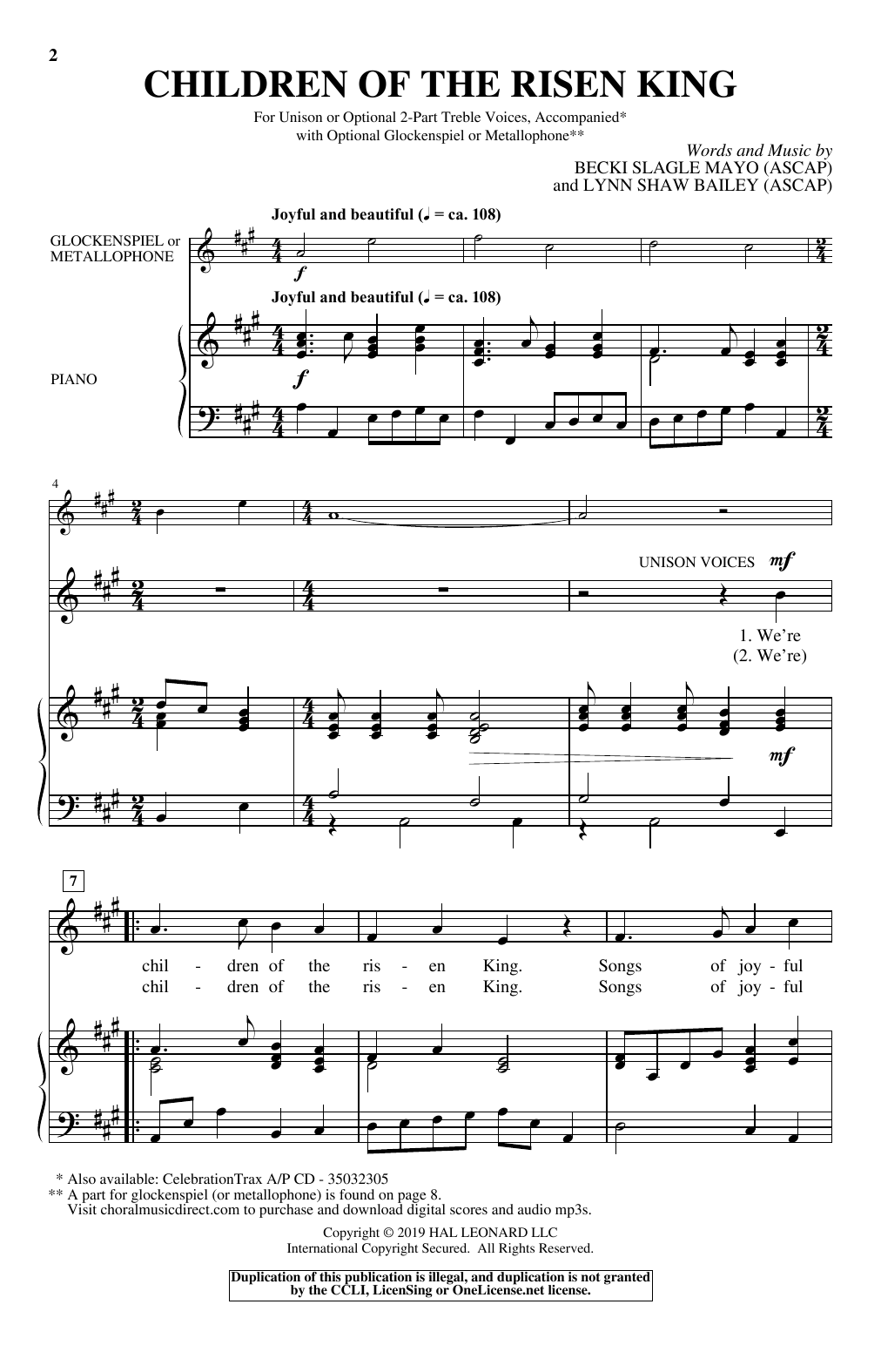 Download Becki Slagle Mayo & Lynn Shaw Bailey 'Children Of The Risen King' Digital Sheet Music Notes & Chords and start playing in minutes