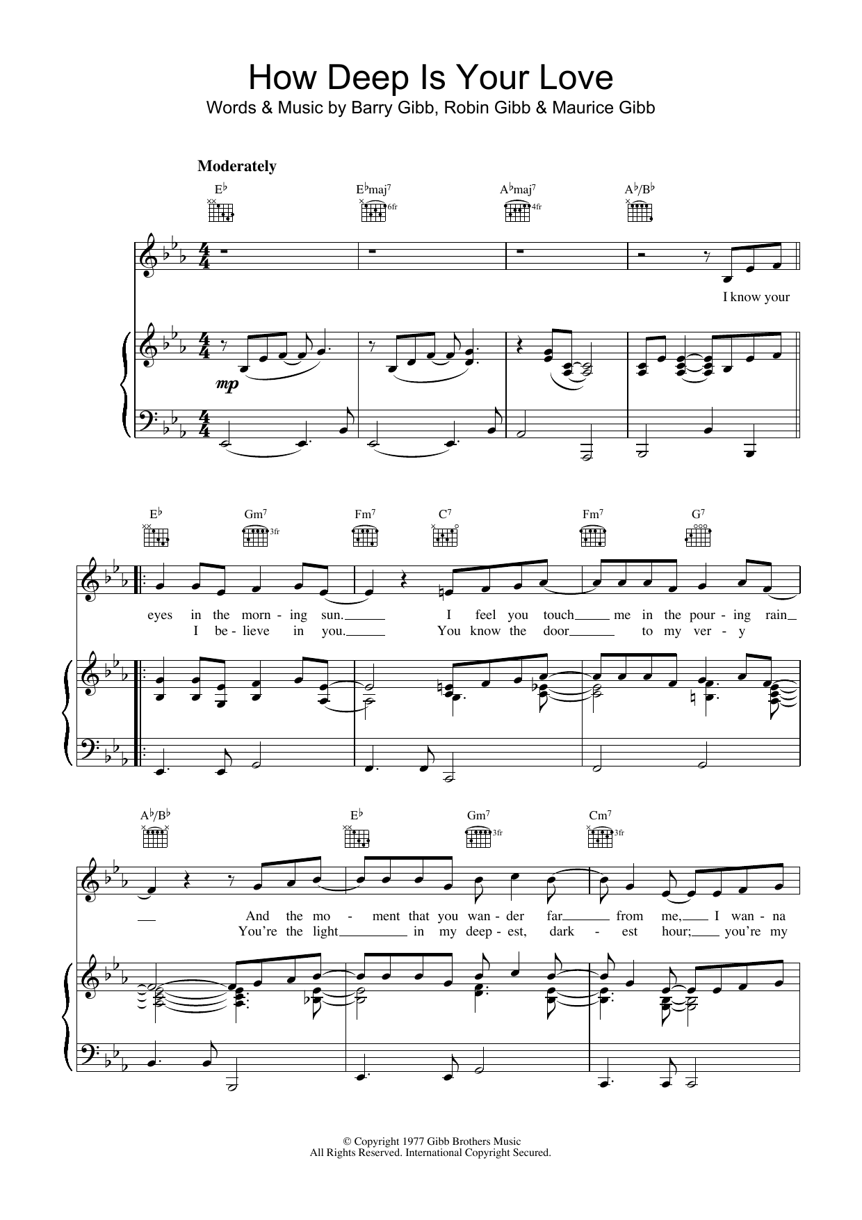 Bee Gees How Deep Is Your Love sheet music preview music notes and score for Piano, Vocal & Guitar (Right-Hand Melody) including 3 page(s)
