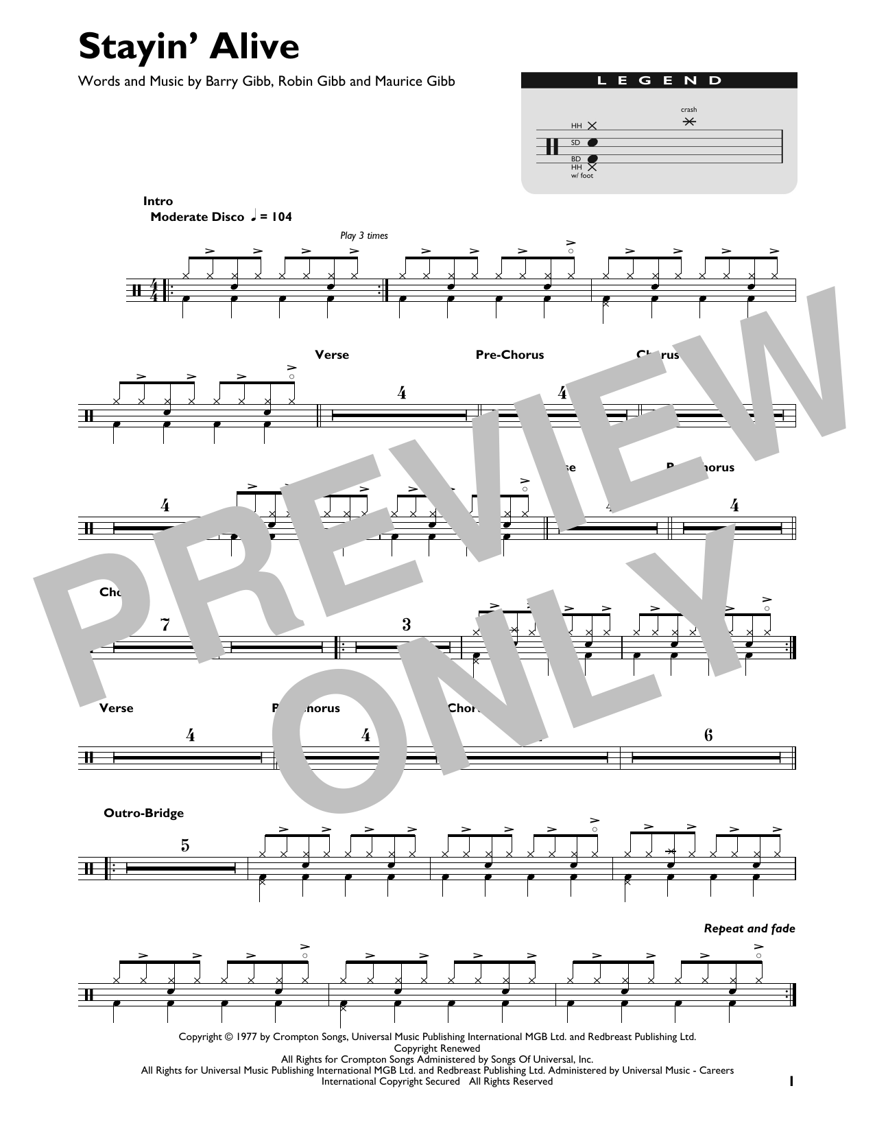 Bee Gees Stayin' Alive sheet music preview music notes and score for Drums Transcription including 1 page(s)