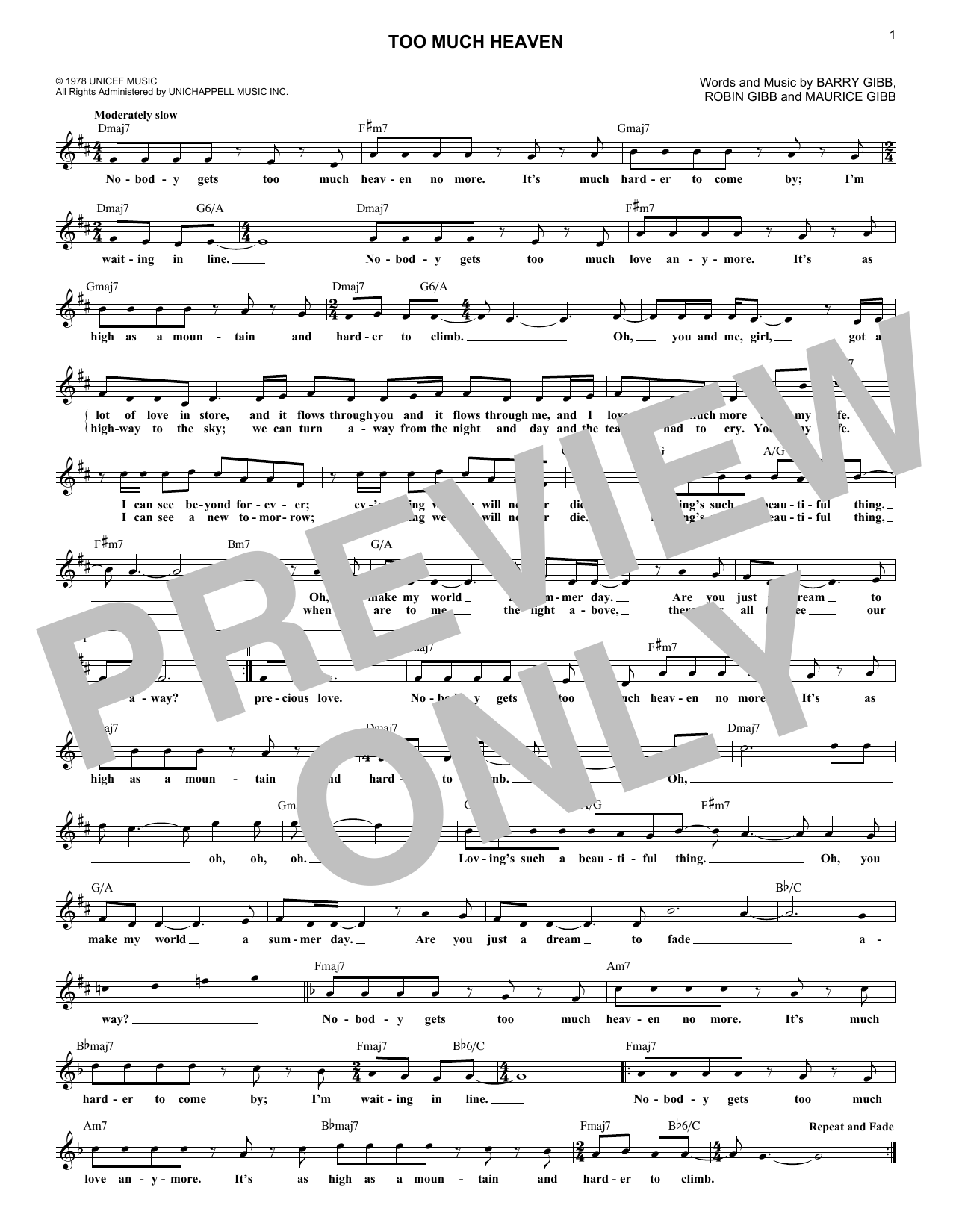 Bee Gees Too Much Heaven sheet music notes and chords