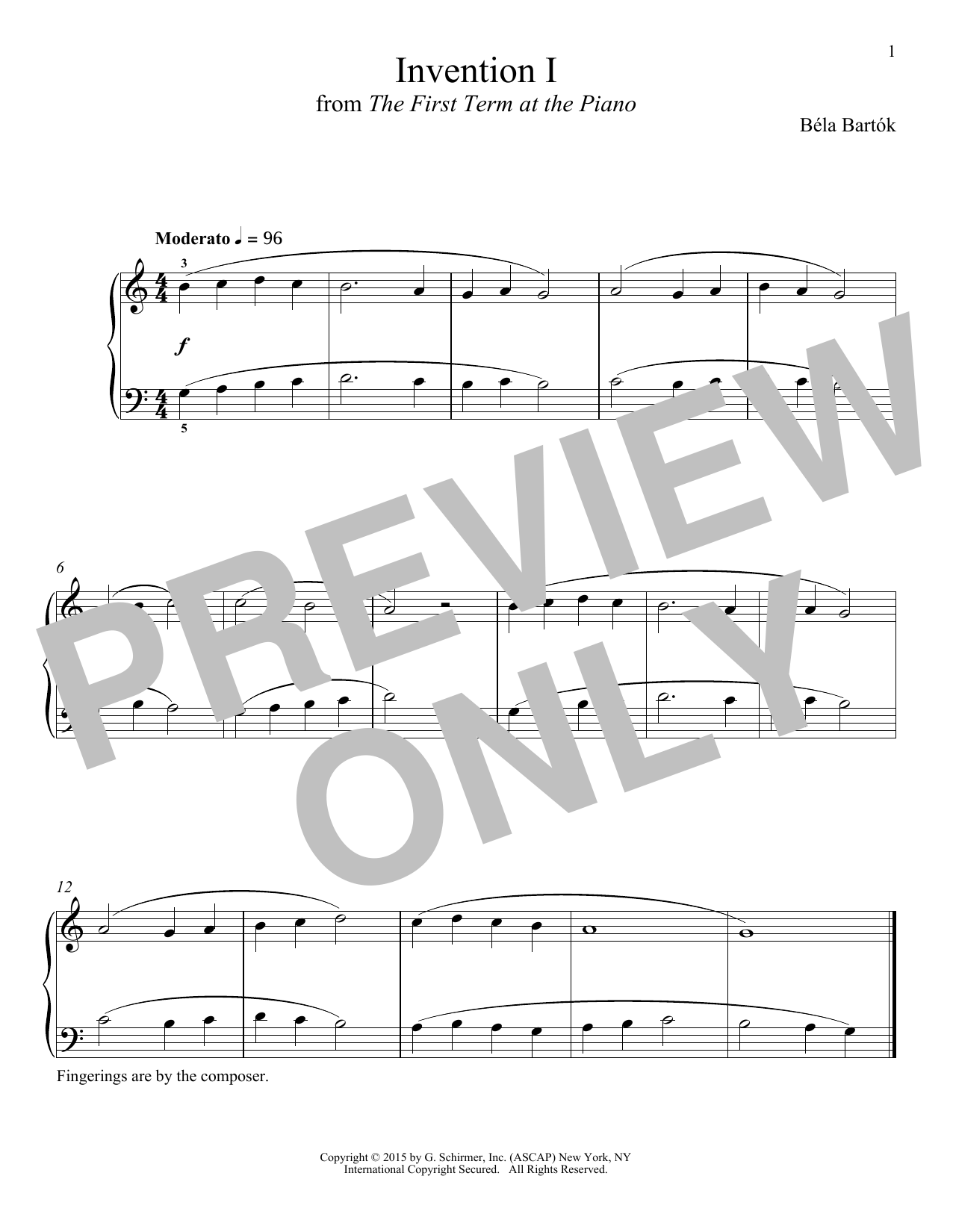 Bela Bartok Invention I sheet music notes and chords