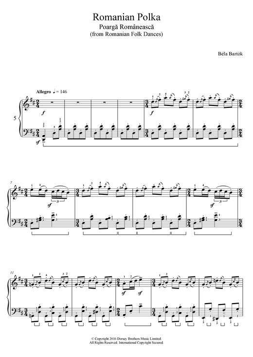 Download Bela Bartok 'Romanian Polka (From Romanian Folk Dances)' Digital Sheet Music Notes & Chords and start playing in minutes