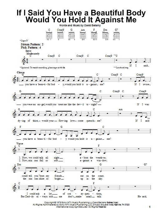 The Bellamy Brothers If I Said You Have A Beautiful Body Would You Hold It Against Me sheet music preview music notes and score for Easy Guitar including 2 page(s)