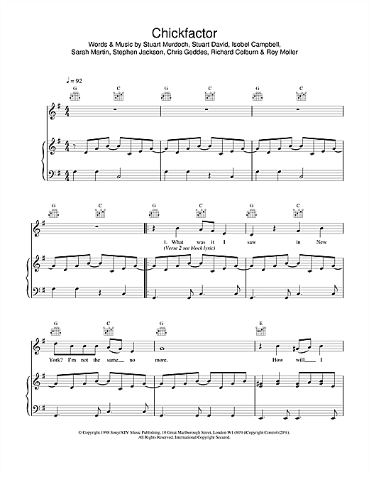 Belle & Sebastian Chickfactor sheet music notes and chords