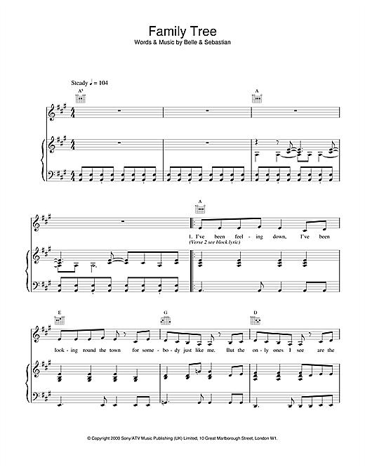Belle & Sebastian Family Tree sheet music notes and chords