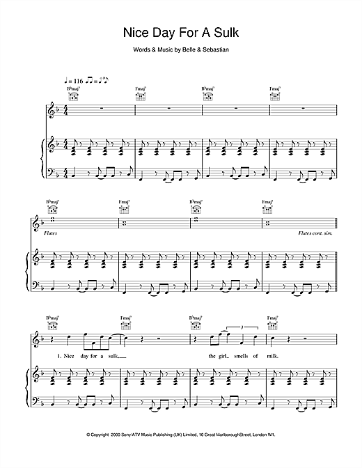 Belle & Sebastian Nice Day For A Sulk sheet music notes and chords