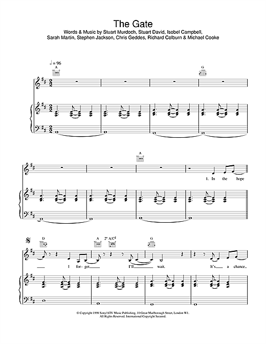 Belle & Sebastian The Gate sheet music notes and chords