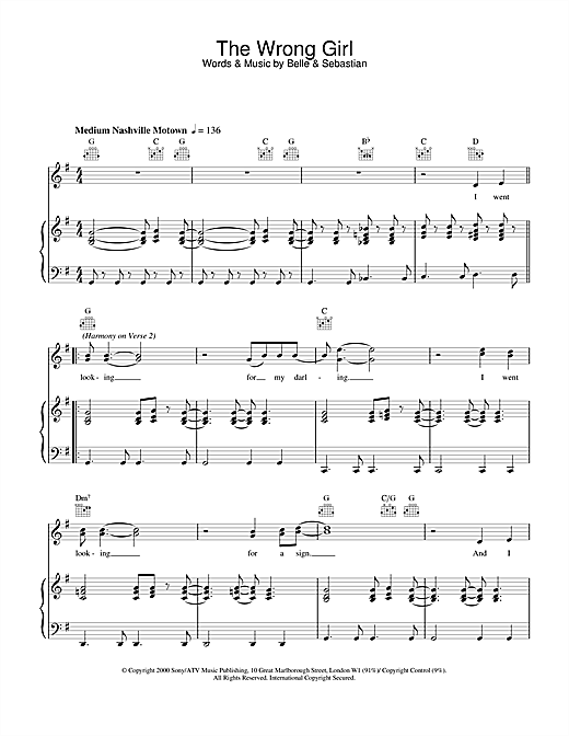 Belle & Sebastian The Wrong Girl sheet music notes and chords