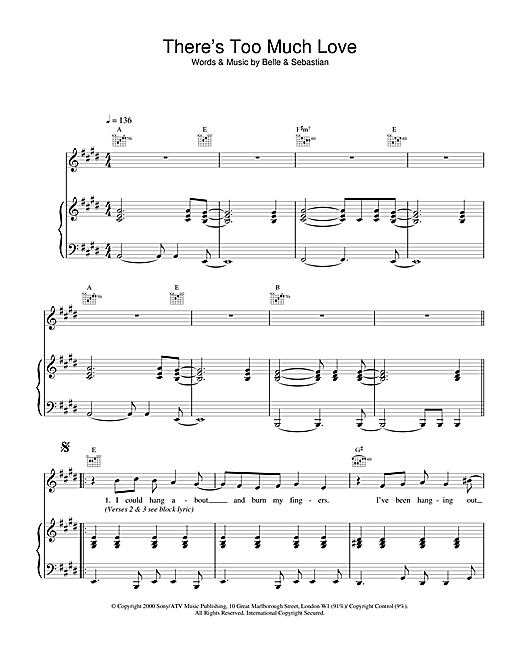 Belle & Sebastian There's Too Much Love sheet music notes and chords