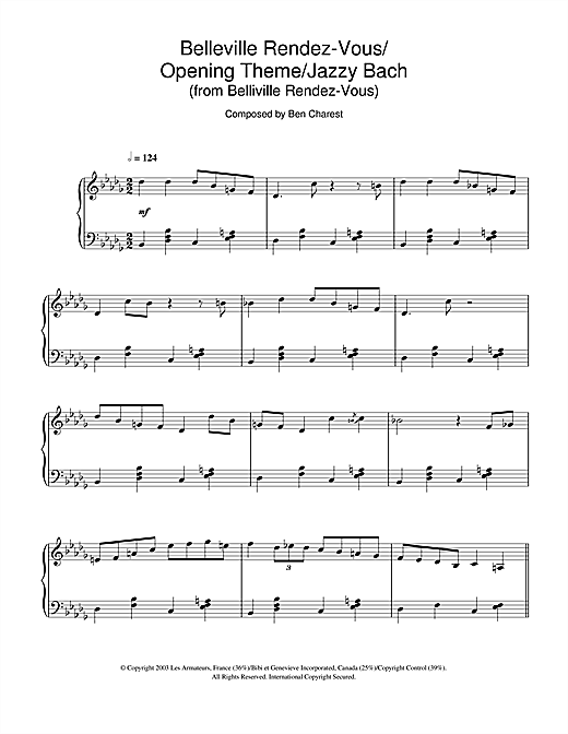 Download Ben Charest 'Belleville Rendez-Vous (Belleville Rendez-Vous/Opening Theme/Jazzy Bach)' Digital Sheet Music Notes & Chords and start playing in minutes