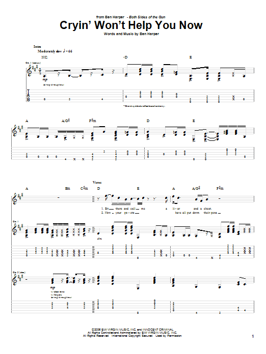 Ben Harper Cryin' Won't Help You sheet music preview music notes and score for Guitar Tab including 6 page(s)