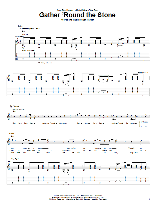 Ben Harper Gather 'Round The Stone sheet music preview music notes and score for Guitar Tab including 4 page(s)