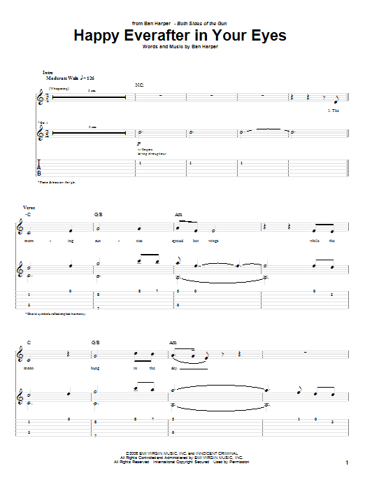 Ben Harper Happy Everafter In Your Eyes sheet music preview music notes and score for Guitar Tab including 8 page(s)