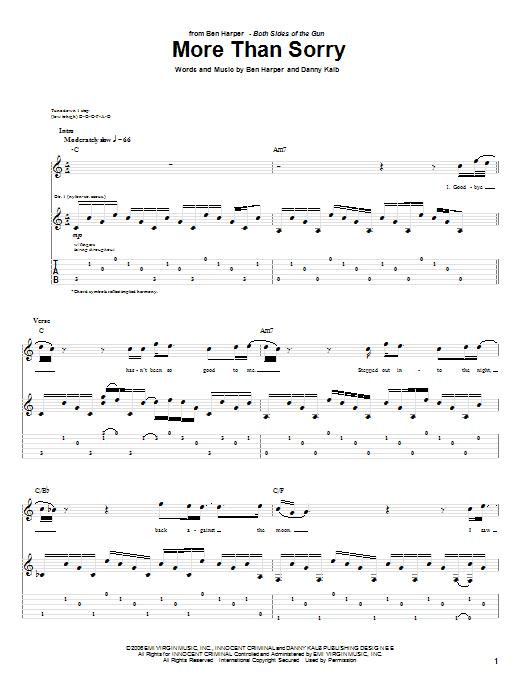 Ben Harper More Than Sorry sheet music preview music notes and score for Guitar Tab including 9 page(s)