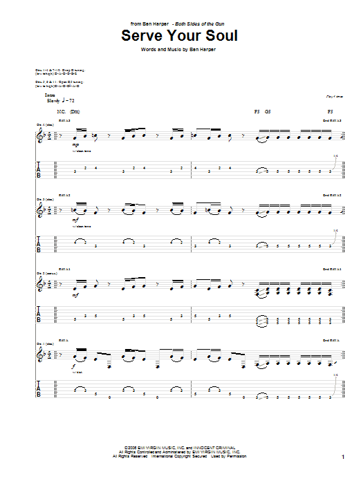Ben Harper Serve Your Soul sheet music preview music notes and score for Guitar Tab including 17 page(s)