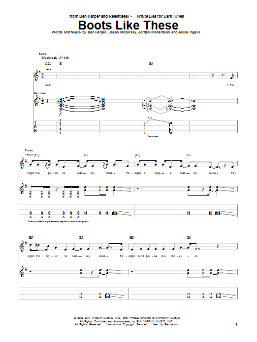 Ben Harper and Relentless7 Boots Like These sheet music preview music notes and score for Guitar Tab including 9 page(s)