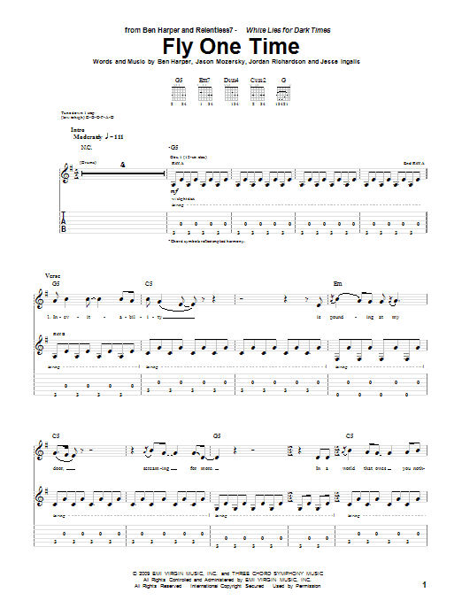 Ben Harper and Relentless7 Fly One Time sheet music preview music notes and score for Guitar Tab including 12 page(s)