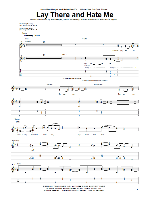 Ben Harper and Relentless7 Lay There And Hate Me sheet music preview music notes and score for Guitar Tab including 14 page(s)