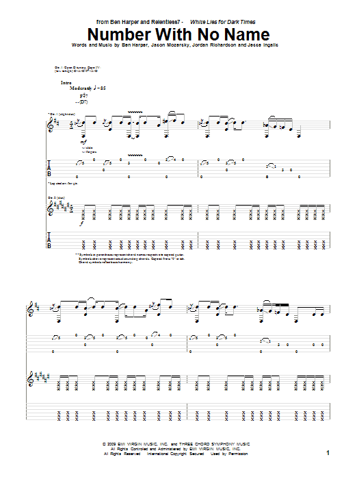 Ben Harper and Relentless7 Number With No Name sheet music preview music notes and score for Guitar Tab including 13 page(s)