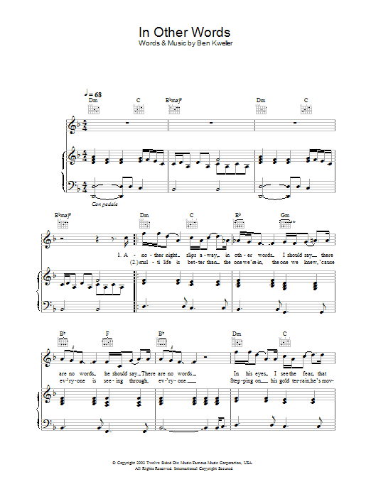 Ben Kweller In Other Words sheet music preview music notes and score for Melody Line, Lyrics & Chords including 3 page(s)