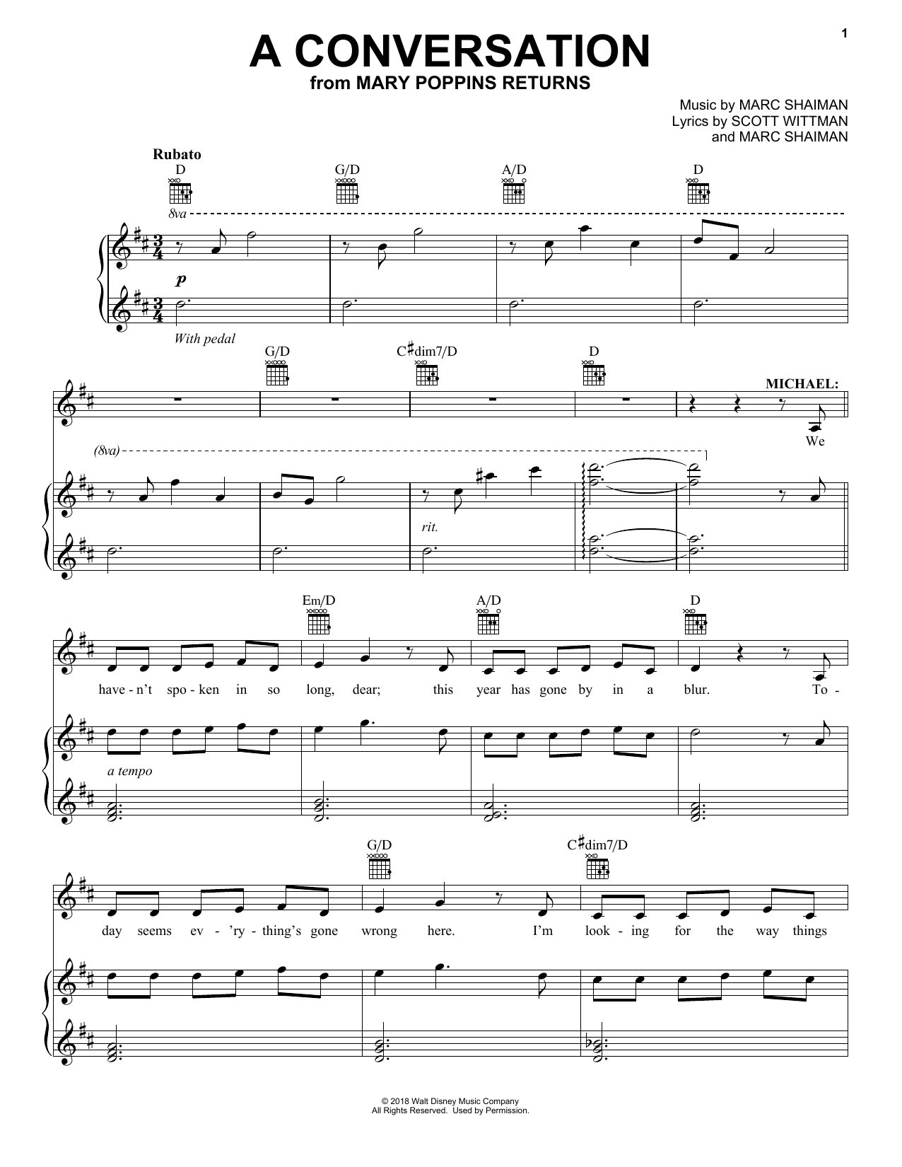 Ben Whishaw A Conversation (from Mary Poppins Returns) sheet music preview music notes and score for E-Z Play Today including 4 page(s)
