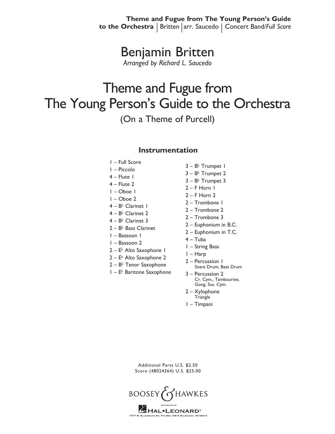 Benjamin Britten Theme and Fugue from The Young Person's Guide to the Orchestra - Conductor Score (Full Score) sheet music preview music notes and score for Concert Band including 28 page(s)