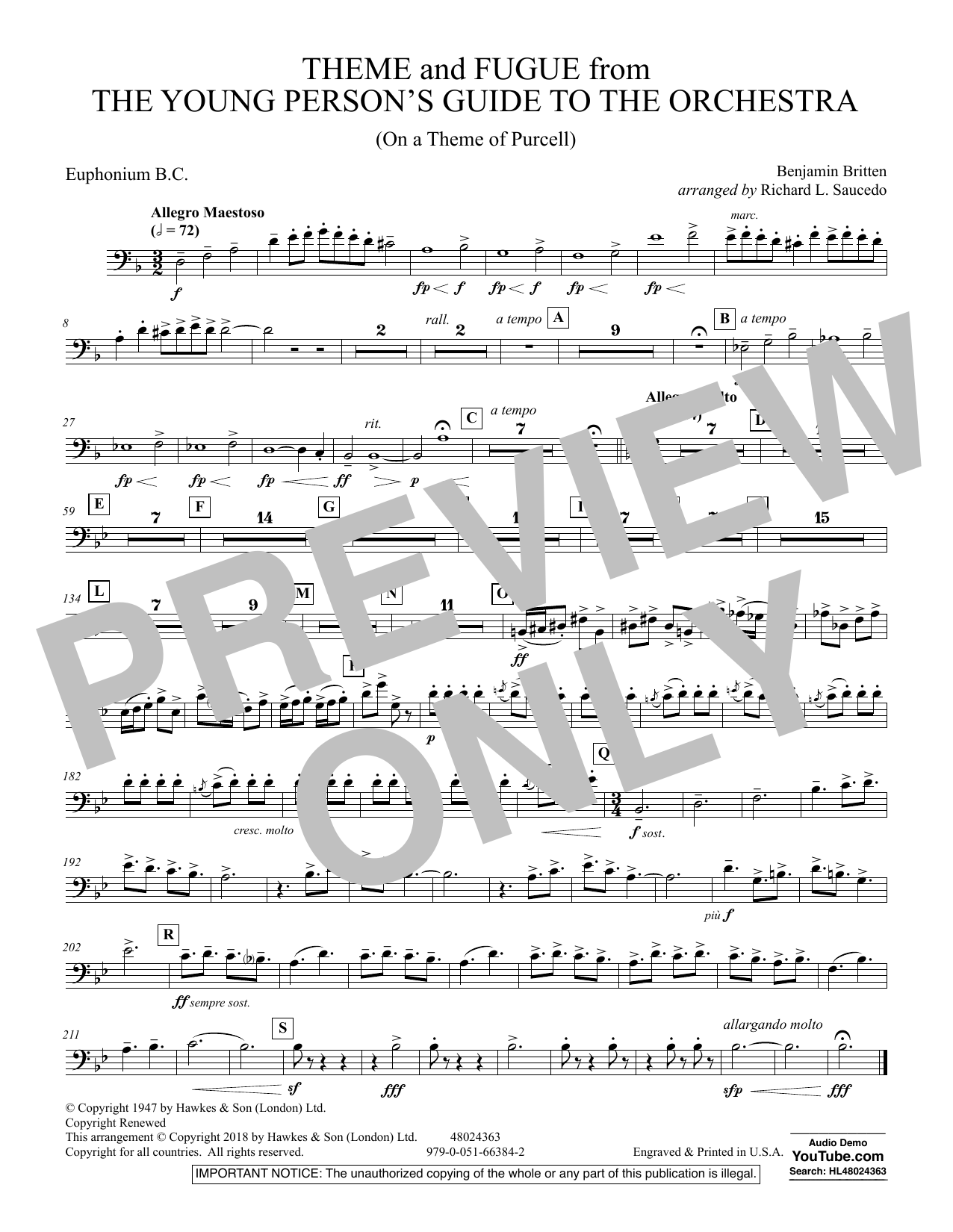 Benjamin Britten Theme and Fugue from The Young Person's Guide to the Orchestra - Euphonium in Bass Clef sheet music preview music notes and score for Concert Band including 1 page(s)