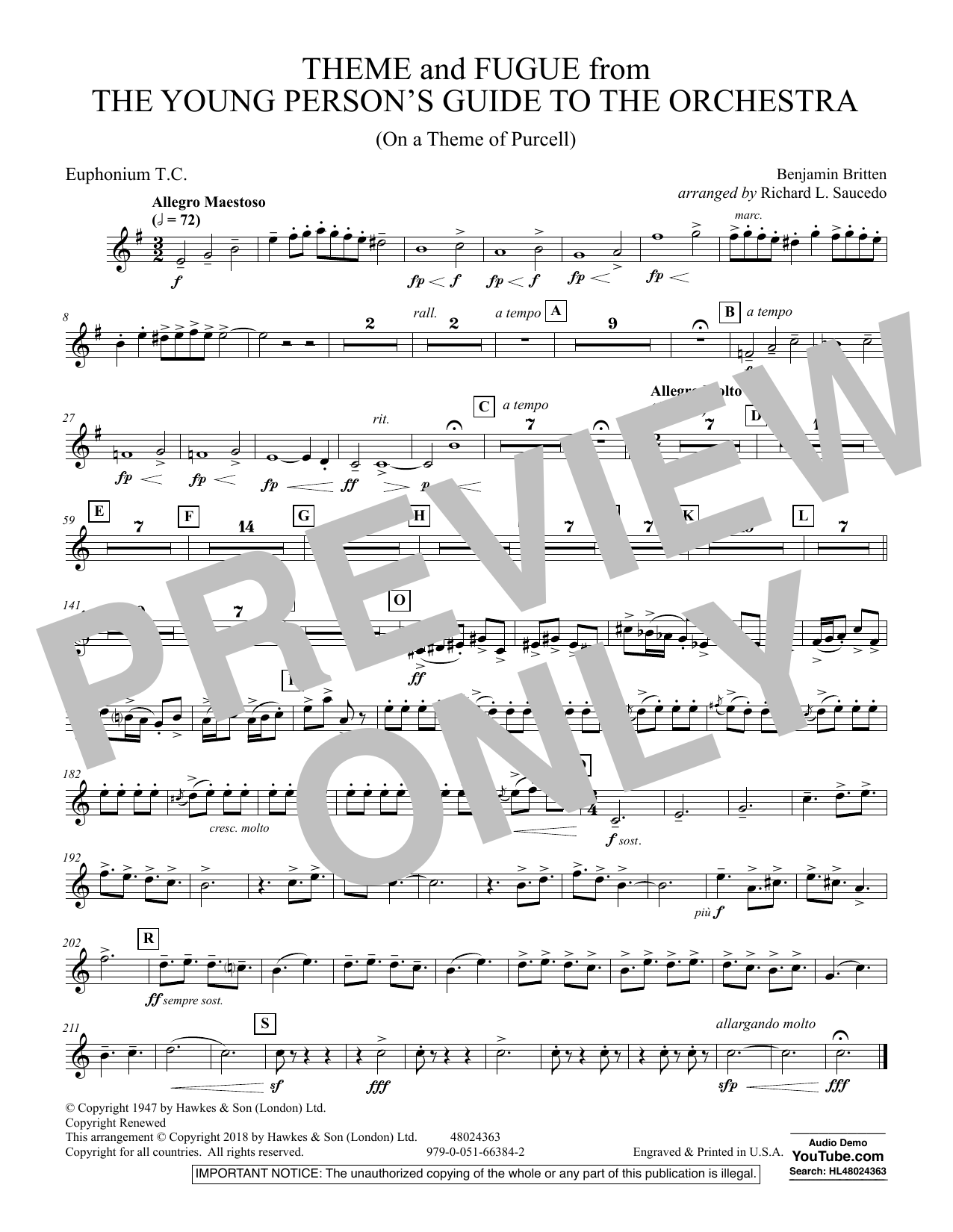 Benjamin Britten Theme and Fugue from The Young Person's Guide to the Orchestra - Euphonium in Treble Clef sheet music preview music notes and score for Concert Band including 1 page(s)