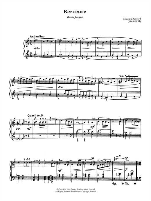 Download Benjamin Godard 'Berceuse (From Jocelyn)' Digital Sheet Music Notes & Chords and start playing in minutes