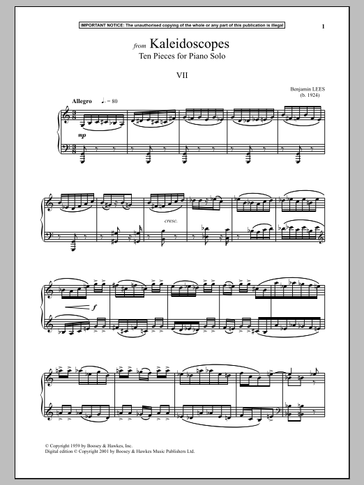 Download Benjamin Lees 'Kaleidoscopes, Ten Pieces For Piano Solo, VII.' Digital Sheet Music Notes & Chords and start playing in minutes