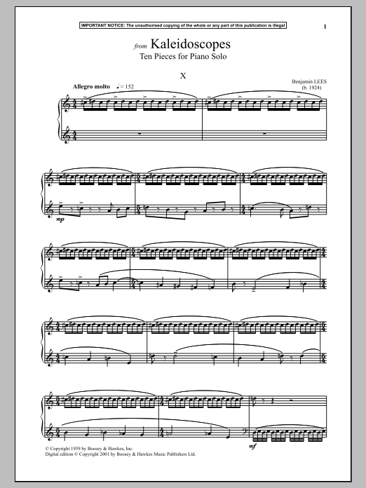 Benjamin Lees Kaleidoscopes, Ten Pieces For Piano Solo, X. sheet music notes and chords