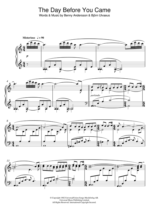 Download Benny Andersson 'The Day Before You Came' Digital Sheet Music Notes & Chords and start playing in minutes
