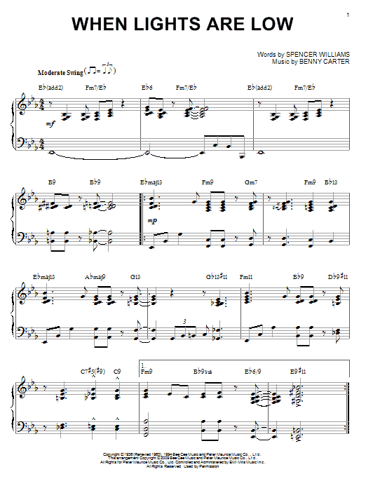 Download Benny Carter 'When Lights Are Low' Digital Sheet Music Notes & Chords and start playing in minutes