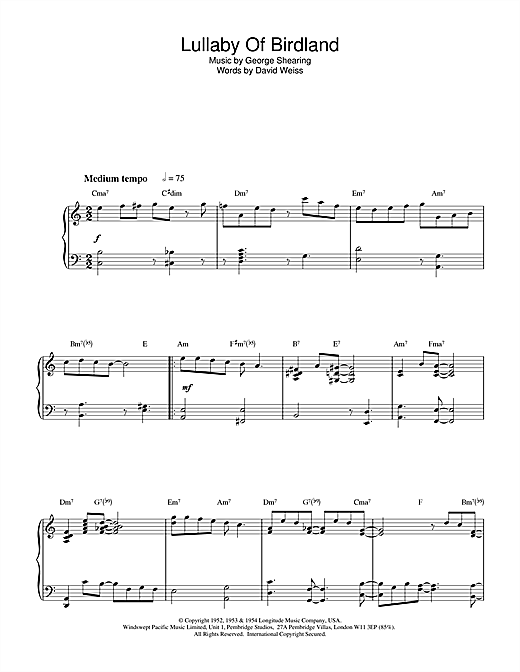 Benny Golson Lullaby Of Birdland sheet music notes and chords