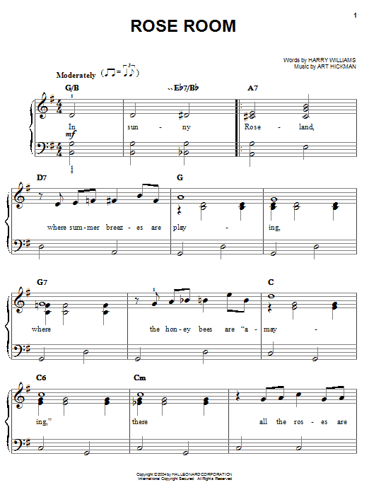 Benny Goodman Rose Room sheet music preview music notes and score for Piano, Vocal & Guitar (Right-Hand Melody) including 3 page(s)
