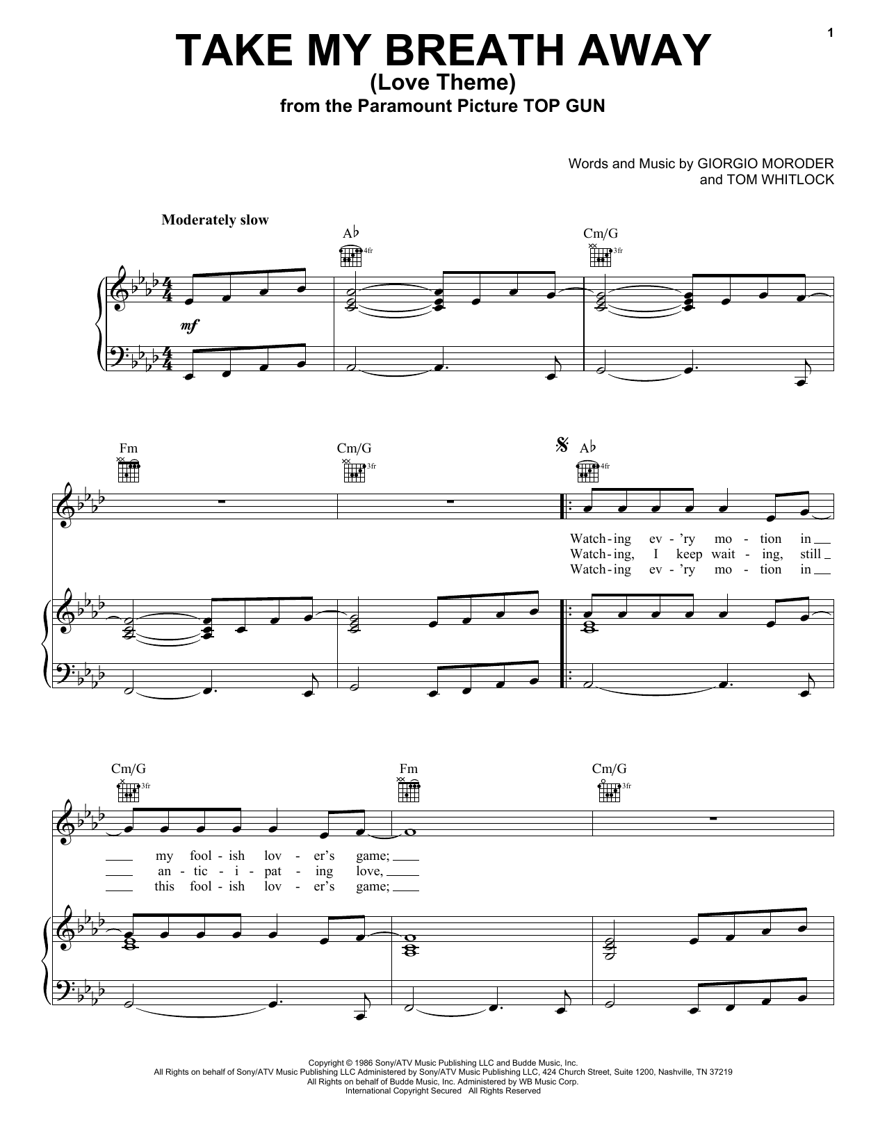Berlin Take My Breath Away (Love Theme) sheet music notes and chords