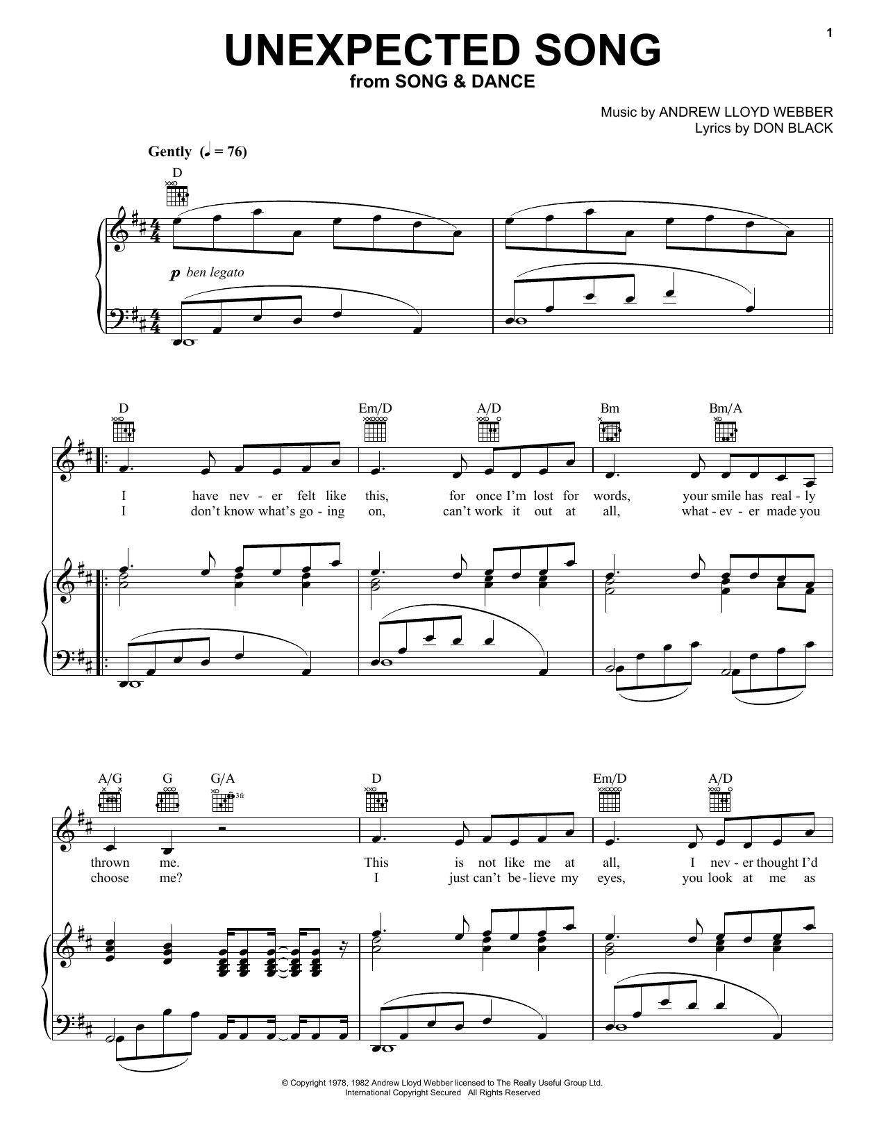 Andrew Lloyd Webber Unexpected Song sheet music preview music notes and score for Piano (Big Notes) including 4 page(s)