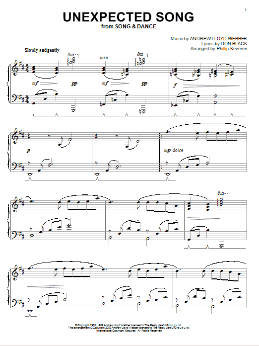 Andrew Lloyd Webber Unexpected Song sheet music notes and chords